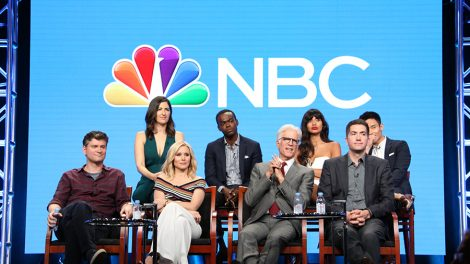 "NBCUNIVERSAL EVENTS -- NBCUniversal Summer Press Tour, August 2, 2016 -- NBC's ""The Good Place"" Panel -- Pictured: (l-r) Michael Schur, Executive Producer; D'Arcy Carden, Kristen Bell, William Jackson Harper, Ted Danson, Jameela Jamil, Drew Goddard, Executive Producer; Manny Jacinto -- (Photo by: Evans Vestal Ward/NBCUniversal)"