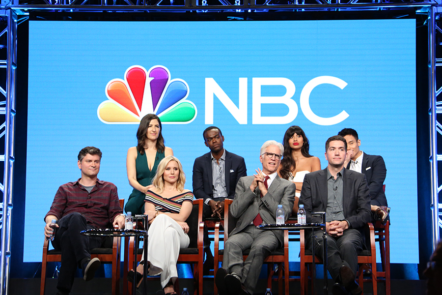"""NBCUNIVERSAL EVENTS -- NBCUniversal Summer Press Tour, August 2, 2016 -- NBC's """"The Good Place"""" Panel -- Pictured: (l-r) Michael Schur, Executive Producer; D'Arcy Carden, Kristen Bell, William Jackson Harper, Ted Danson, Jameela Jamil, Drew Goddard, Executive Producer; Manny Jacinto -- (Photo by: Evans Vestal Ward/NBCUniversal)"""