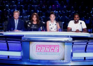 JUDGES:  SO YOU THINK YOU CAN DANCE: L-R: Resident judges Nigel Lythgoe, Paula Abdul, Maddie Ziegler and Jason Derulo on SO YOU THINK YOU CAN DANCE airing Monday, August 22 (8:00-10:00 PM ET live/PT tape delayed) on FOX. ©2016 FOX Broadcasting Co. Cr: Adam Rose