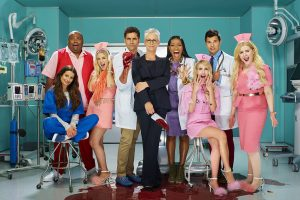 SCREAM QUEENS: L-R: Lea Michele, James Earl, Billie Lourd, John Stamos, Keke Palmer, Emma Roberts, Taylor Lautner and Abigail Breslin. SCREAM QUEENS premieres Tuesday, Sep. 20 (9:00-10:00 PM ET/PT) on FOX. Cr: Mattius Clammer. © 2016 FOX Broadcasting Co.
