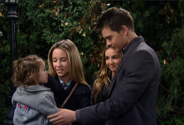 The Corinthos siblings take Avery for a walk.