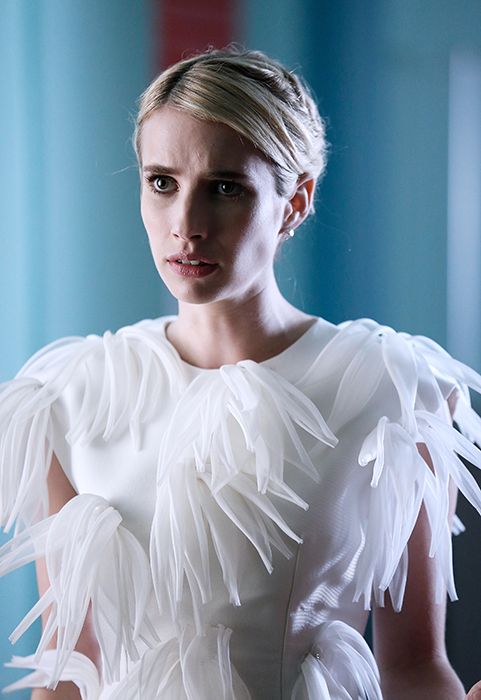 "SCREAM QUEENS: Emma Roberts in the all-new ""Chanel Pour Homme-Icide"" episode of SCREAM QUEENS airing Tuesday, Nov. 1 (9:00-10:00 PM ET/PT) on FOX. Cr: Michael Becker / FOX. © 2016 FOX Broadcasting Co."
