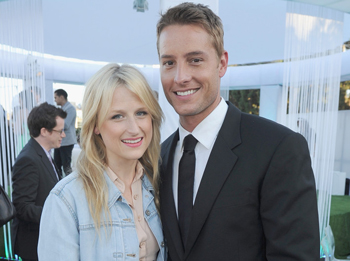 Actors Mamie Gummer (L) and Justin Hartley attend the CW, CBS And Showtime 2012 Summer TCA party held at The Beverly Hilton Hotel on July 29, 2012 in Beverly Hills, California.
