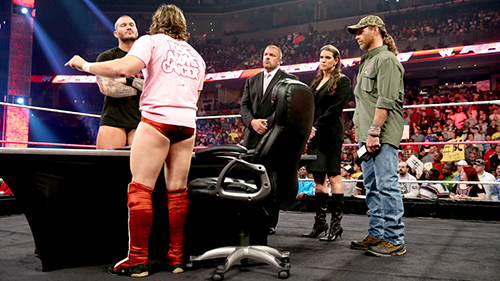 Pictured: Randy Orton, Daniel Bryan, Triple H, Stephanie McMahon and Shawn Michaels in the closing segment of WWE Raw.   Photo Credit: WWE