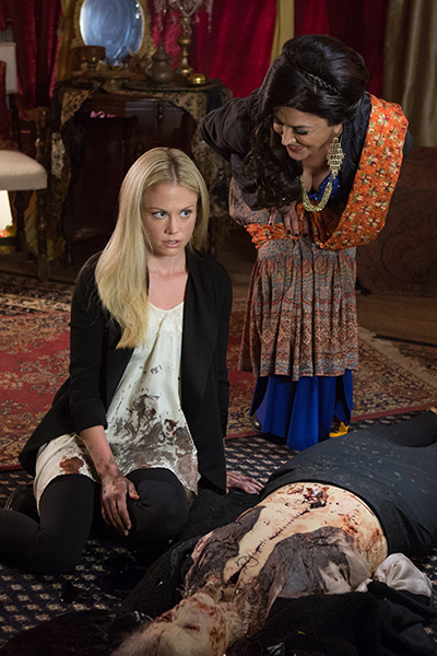 """GRIMM -- """"PTZD"""" Episode 302 -- Pictured: (l-r) Claire Coffee as Adalind Schade, Shohreh Aghdashloo as Stefania -- (Photo by: Scott Green/NBC)"""
