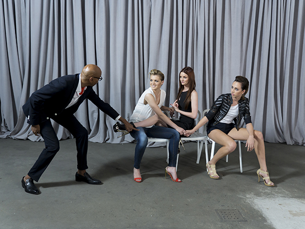 """THE FACE -- """"Just One of the Boys"""" -  Episode 206 -- Pictured: Team Lydia practicing for the challenge with guest mentor RuPaul -- (Photo by: Steve Fenn/Oxygen)"""